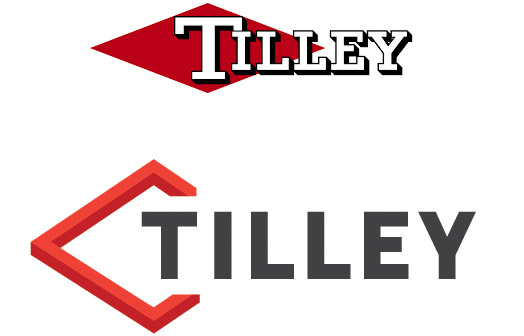 Tilley's old logo compared the new 2020 logo.