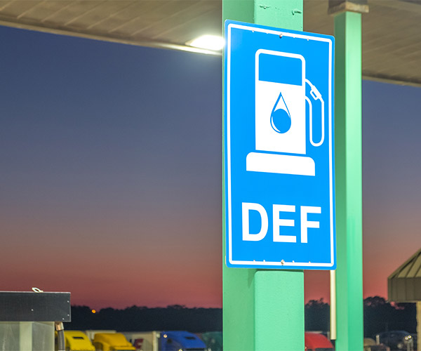 Diesel Exhaust Fluid sign at a gas station.