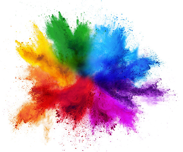 Red, yellow, green, blue and purple dye powders in a explosion shape.