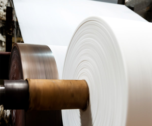 Newly made paper roll on a production line.