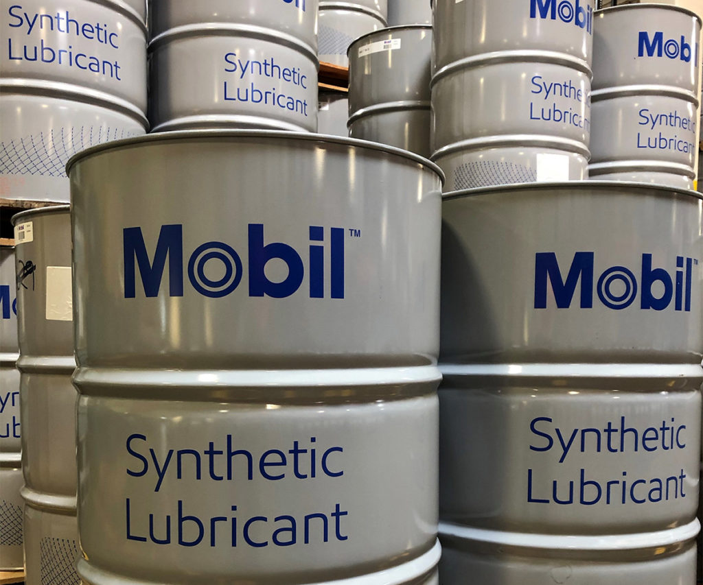 Drums of Mobil Synthetic Lubricant.
