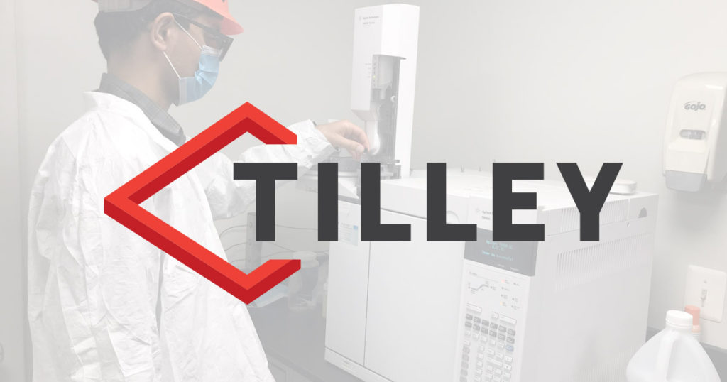 Man in lab with Tilley Company logo