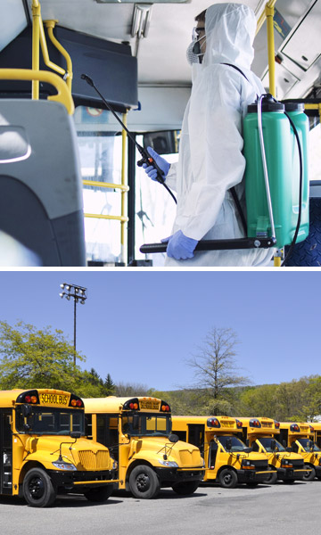 Images of a person spraying PermaSafe in the interior of a bus, and a fleet of school buses.