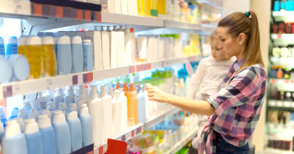 Woman shops for personal care products