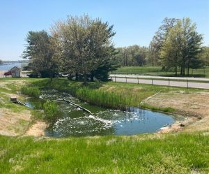 A retention pond at the Tilley Company headquarters in Baltimore, Maryland.